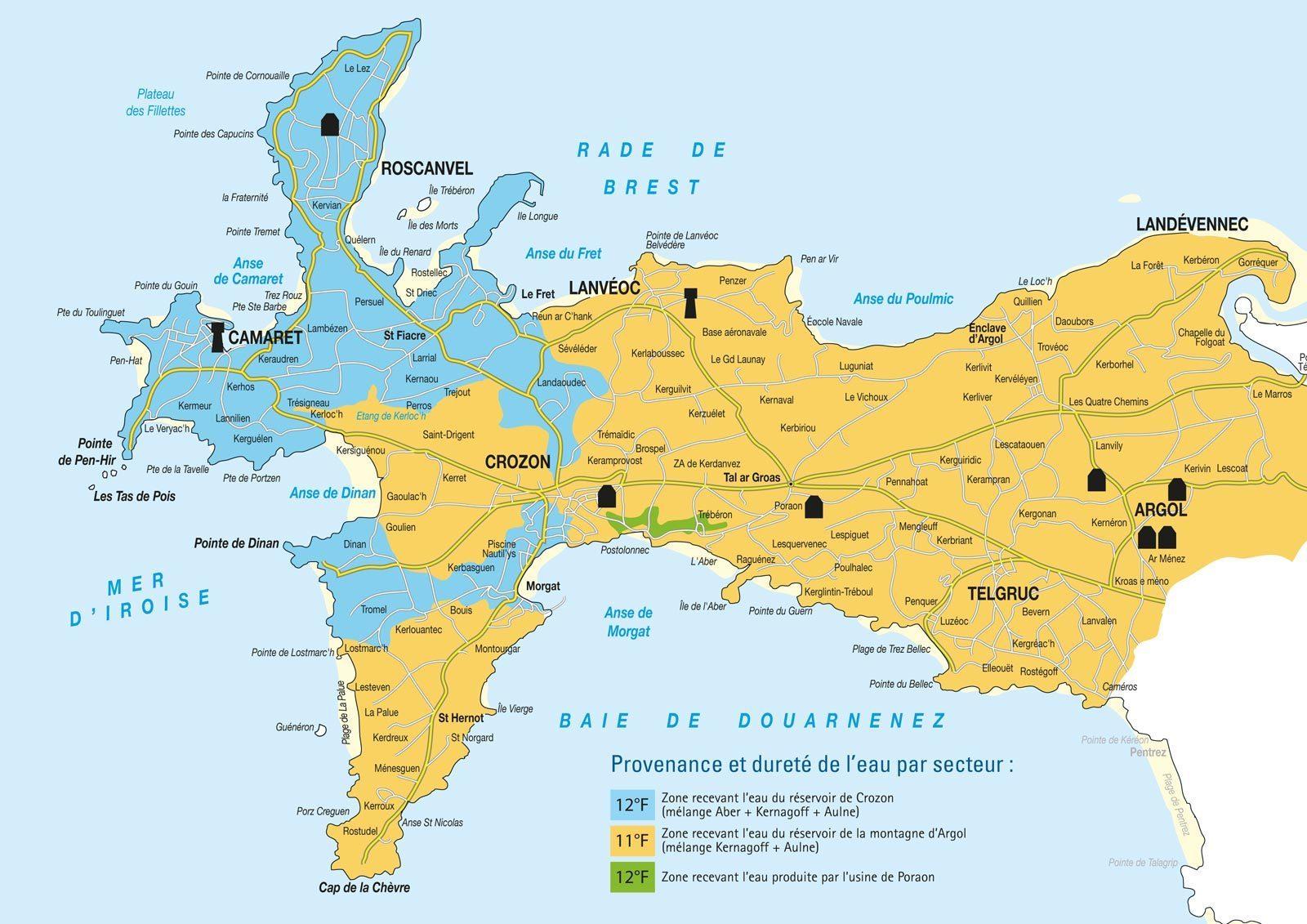 Carte Bretagne Presquile De Crozon.Qualite De L Eau Du Robinet Com Com Crozon